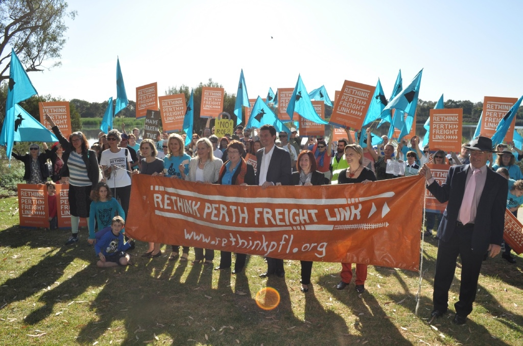 Protestors opposed to the Perth Freight Link gathered in Bibra Lake last Thursday.