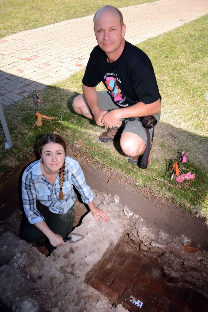 Sven Ouzman and student Kathleen Armstrong are digging up the past at Gallop House. Picture: Jon Bassett.