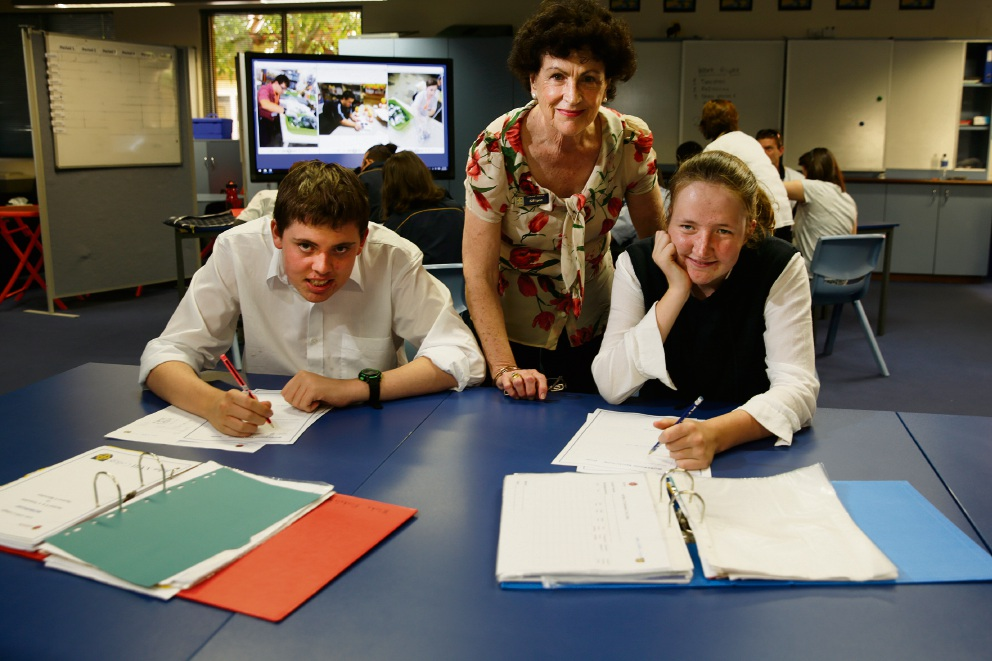 Mary Ward Centre head of learning Gill Lyon with Year 12 student Lachlan Harcourt and Year 11 student Maddie Brown.  Picture: Andrew Ritchie        www.communitypix.com.au   d467149