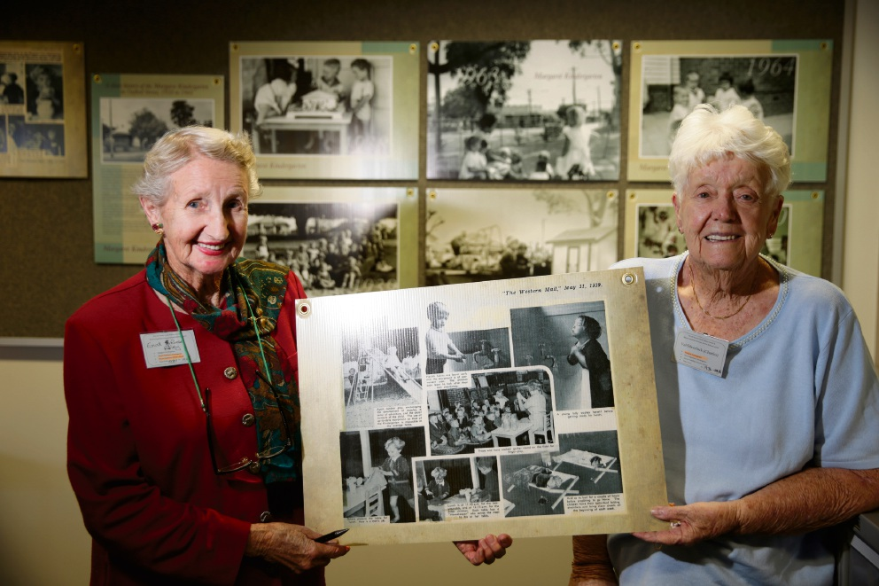 Enid Rose (nee Riley) and Val Silverlock (nee Charles). Hundreds of photographs and documents, including early school registers, have been processed by volunteers into archival folders at the City of Vincent Library with photographs ranging from the early 1900s to the 1990s. Picture: Andrew Ritchie