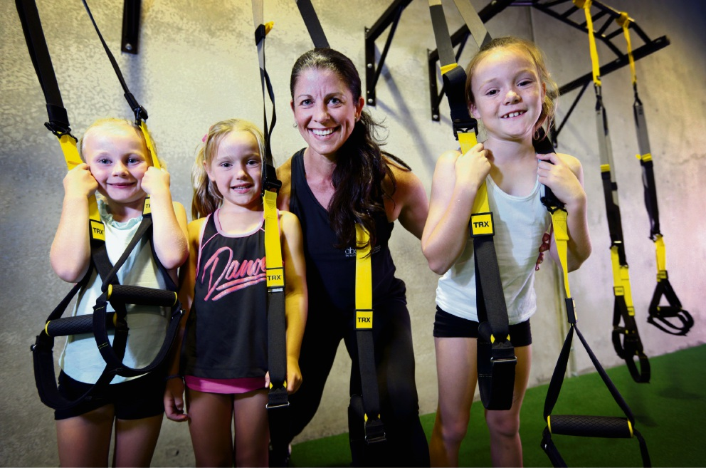 Kira Hopcroft (6), Mikayla Horton (6), Hayley Beckett (owner of absonfitness in Ellenbrook) and Chloe Horton (8). Kids fitness classes. Picture: David Baylis
