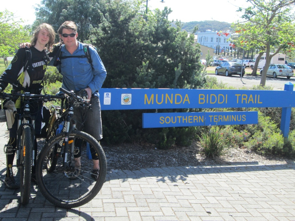 Glen Stewart-Richardson and son Branden  at the southern terminus of the Munda Biddi Trail in Albany.