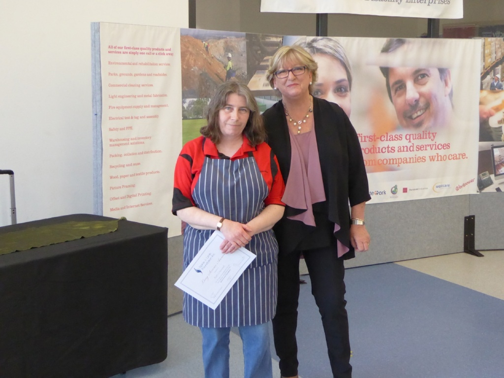 Ruth Cresswell with Disability Services Minister Helen Morton.