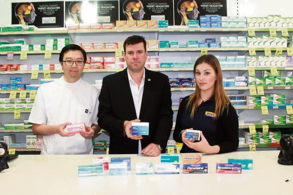 Greg's Discount Chemist proprietor Mr Vincent Wong and staff with South Metropolitan Region MLA Phil Edman.