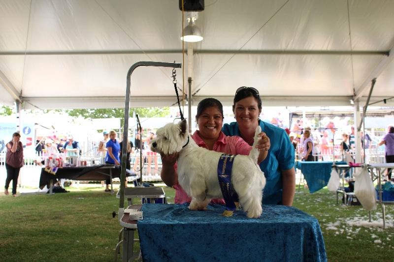 Tracy Martin, Oscar and Melissa Van Hoe at the Perth Royal Show.