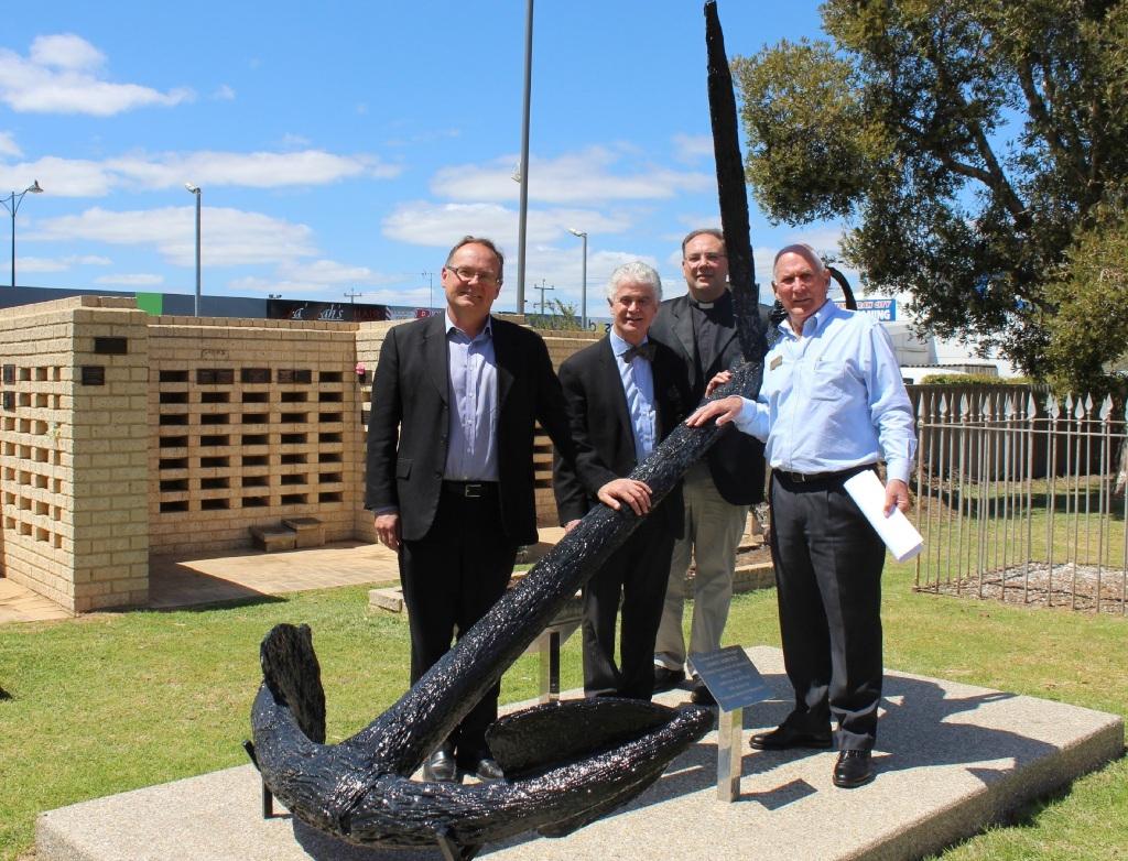 Mandurah MLA David Templeman, Fremantle Museum and Collections director Dr Ian Macleod, Father Darryl Cotton and Bruce Sivyer.