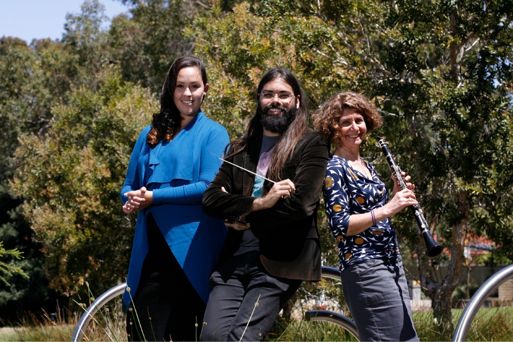 Orchestra members Bianca Hurley, Aaron Wyatt and Irene Wright. Picture: Marie Nirme d444967