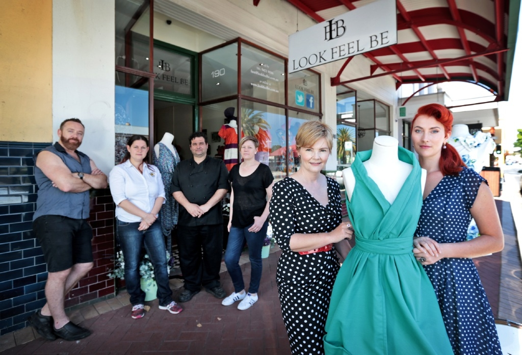 Maylands business owners Michael Heap, Blaine Campbell, Matt Perroni, Casey Richards, Caroline Johnston and Stephanie Brown.  Picture: David Baylis        www.communitypix.com.au   d444926
