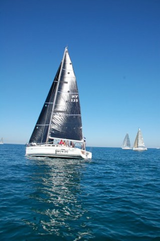 Haywire leads two other yachts during the race.