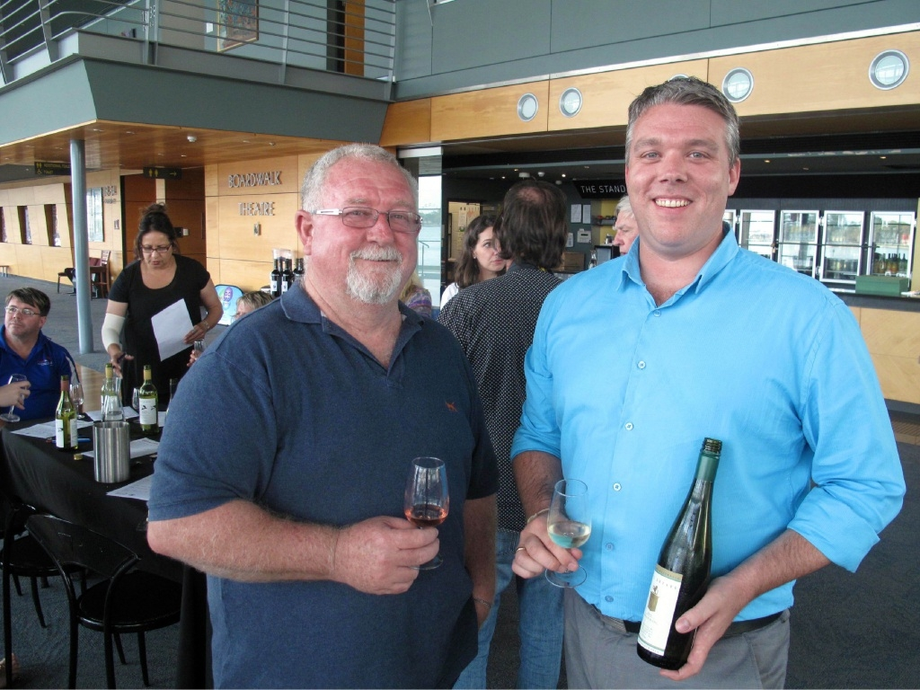 Peel Wine Association president Bernie Worthington and Mandurah and Peel Tourism Organisation chairman Leighton Yates at the wine tasting.