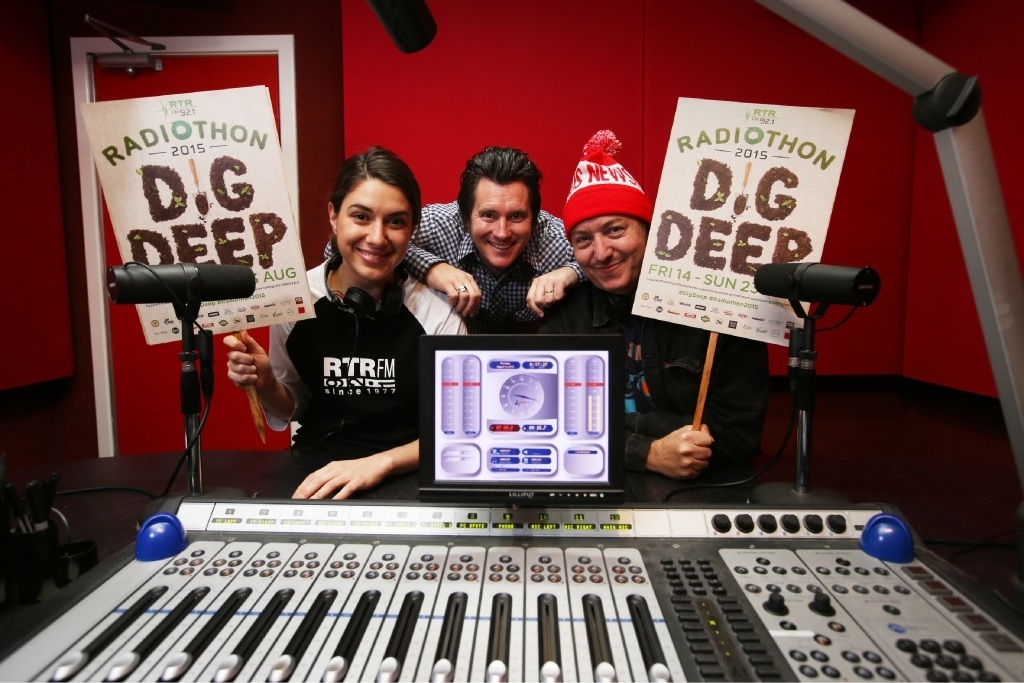 Caitlin Nienaber, Jason Cleary and Peter Barr prepare for RTRFM's Radiothon. The local independent station received funding worth $120,000 in last week's State Budget. Picture: Andrew Ritchie www.communitypix.com.au d442193