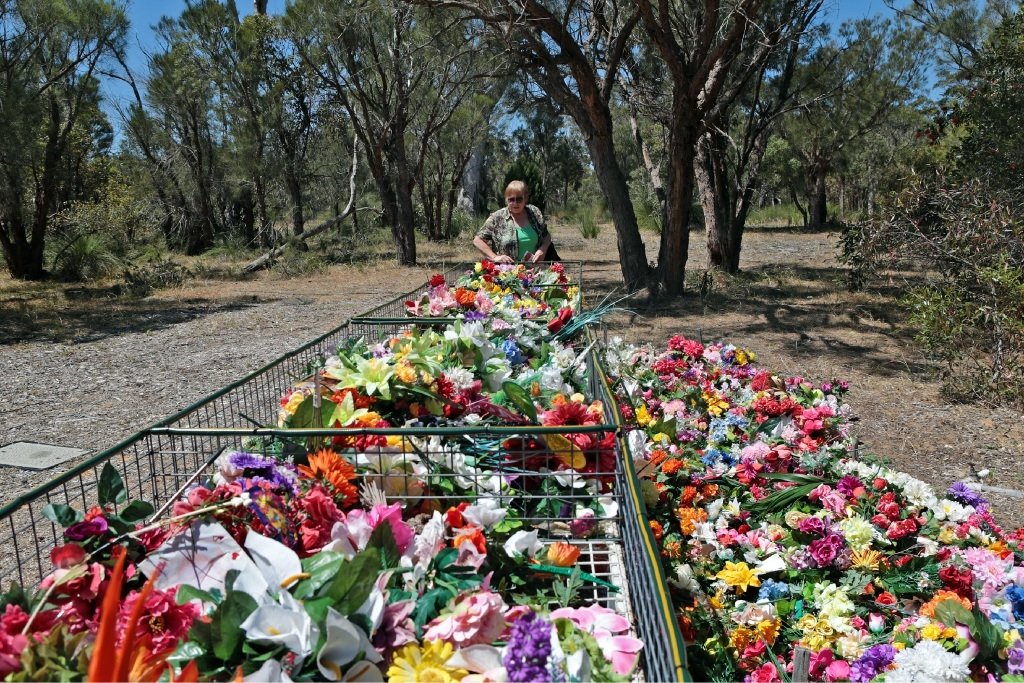 Flowers collected at Pinnaroo Valley Memorial Park.  Picture: Martin Kennealey www.communitypix.com.au   d445173