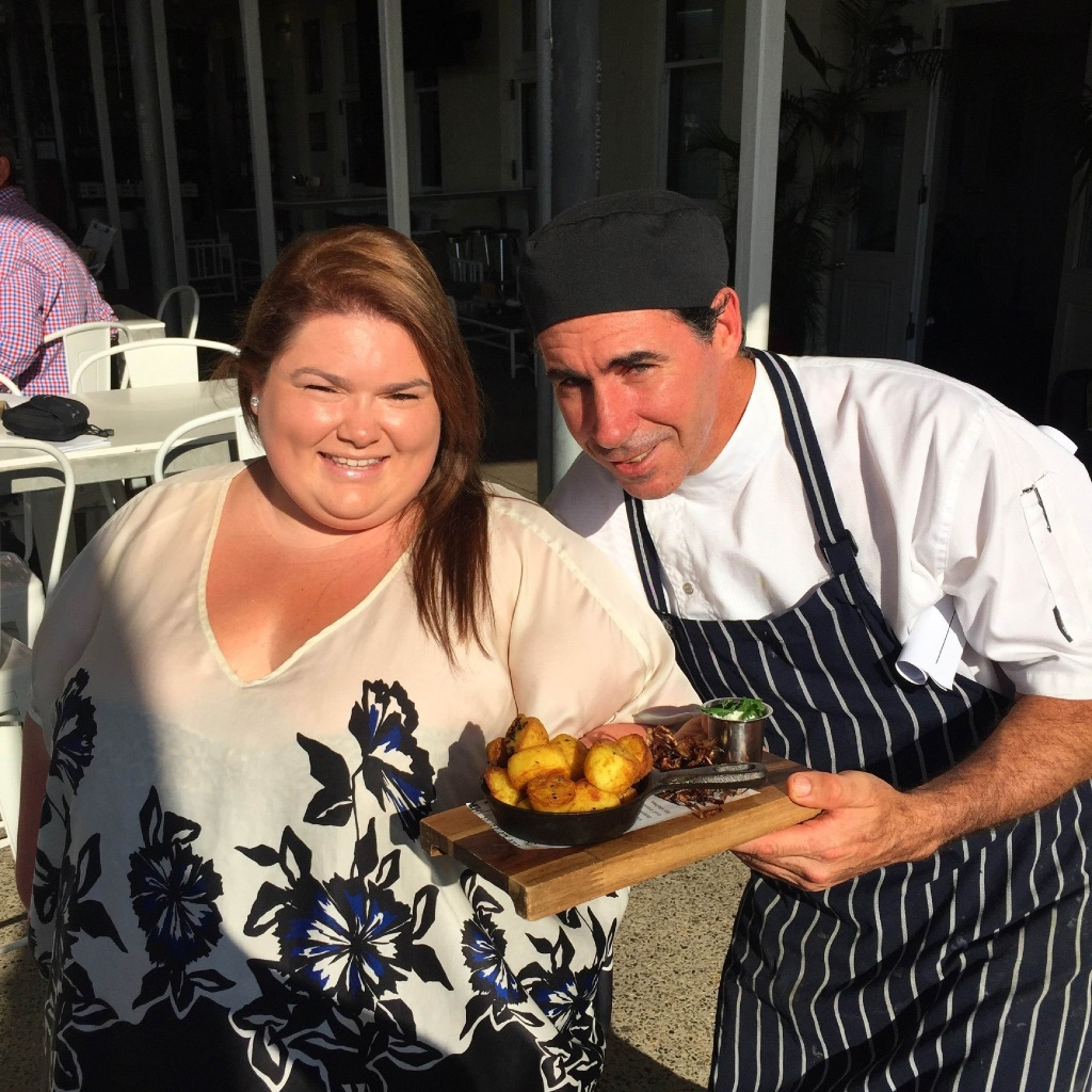 Ruby Kaspi with Bombay Potatoes and Tradewinds Head Chef Gary Martin