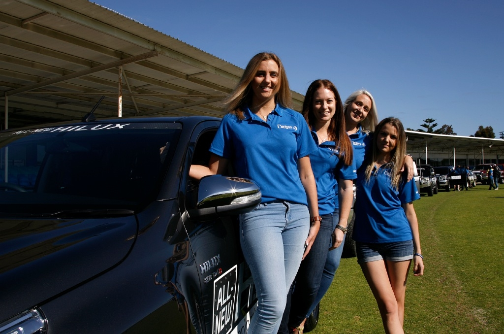 At the start for the Daniher Drive for MND are Katie Winsor, Amanda Cox, Melissa Burrows and Fiona Cooper. Picture: Marie Nirme        www.communitypix.com.au   d444712