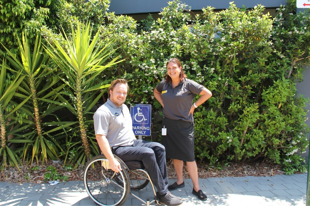 RAC presenter Natalie Wong with Paraplegic Benefit Fund presenter Rob Pike.