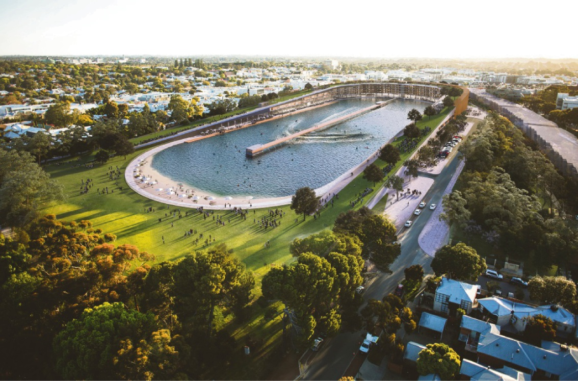 An artist's impression of the proposed Subi Surf Park.