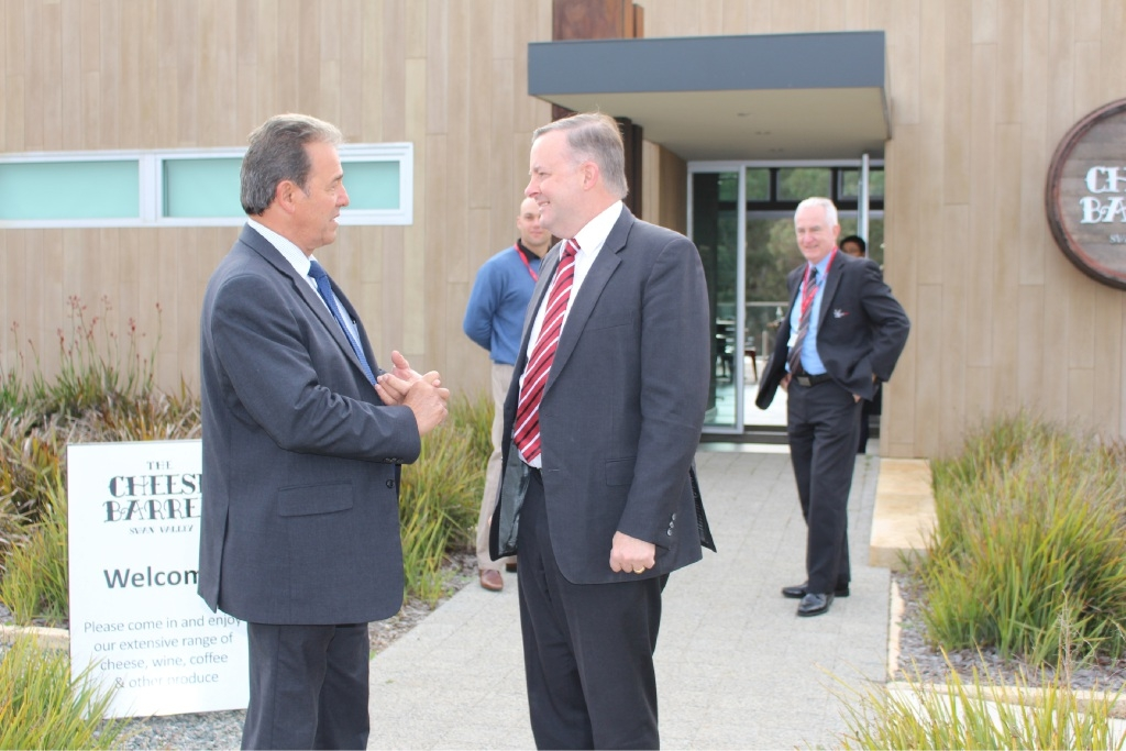 File picture shows Mr Zannino welcoming Federal Opposition tourism spokesman Anthony Albanese to the Swan Valley last month. Picture: J Bianchini