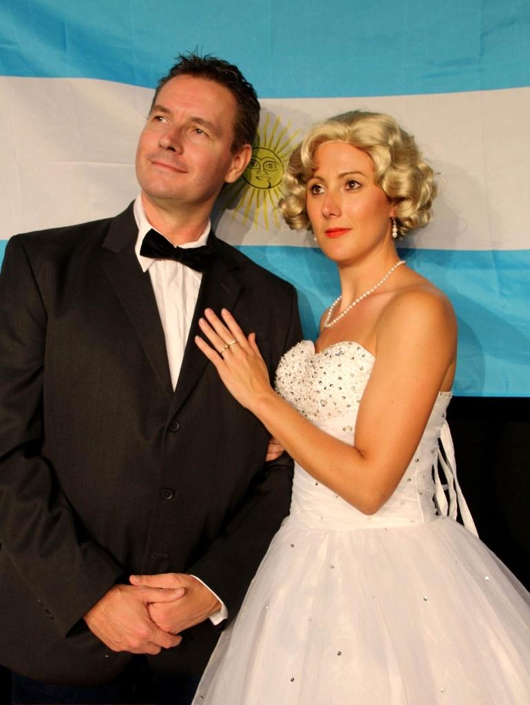 Juan Peron (Peter Knol) and Evita (Sian Dhu) in Evita.