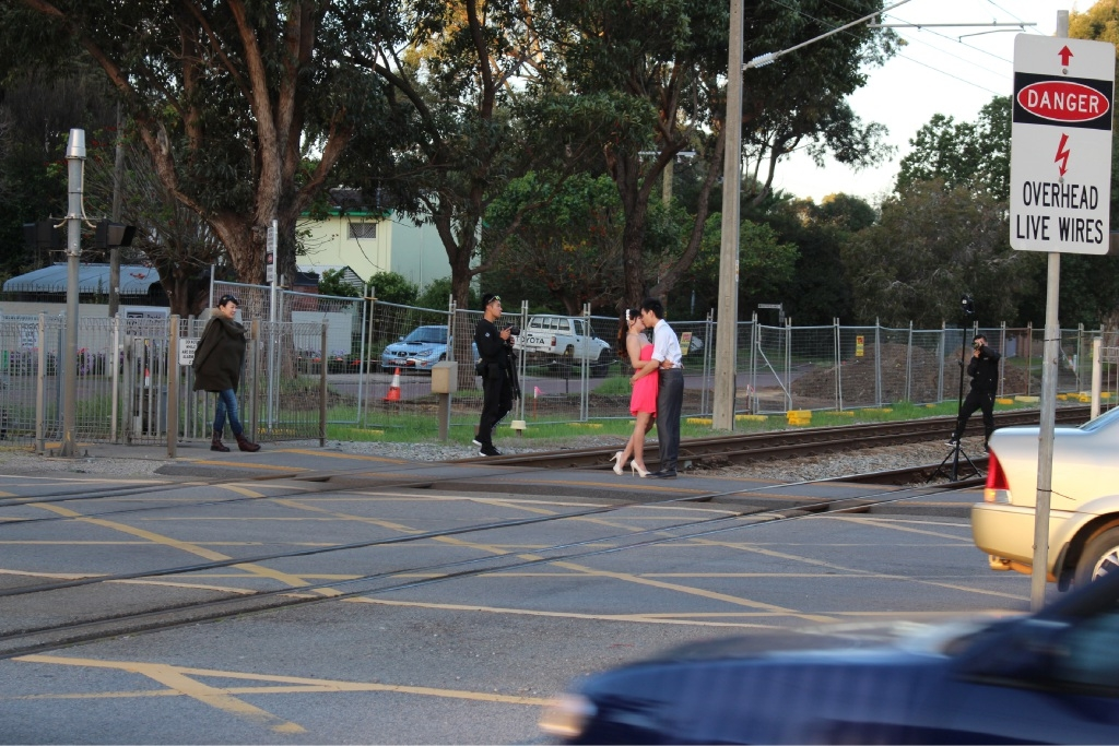 Crossing the line: the couple pictured on the Guildford tracks. Picture: J Bianchini