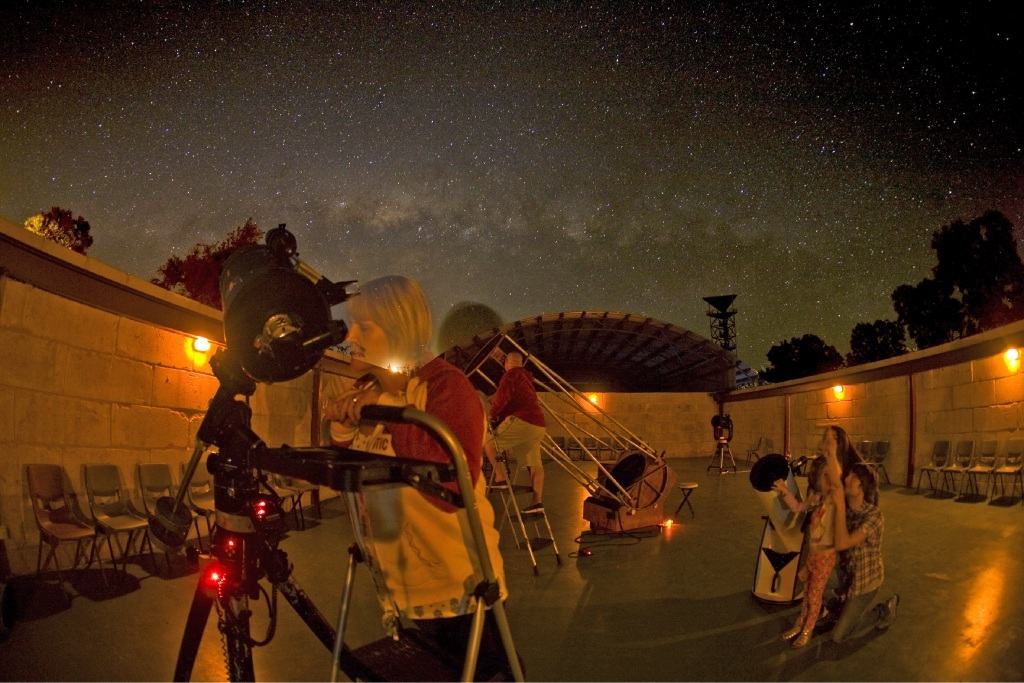 Telescopes at the ready for the supermoon.Picture: AES Astronomy Education Services
