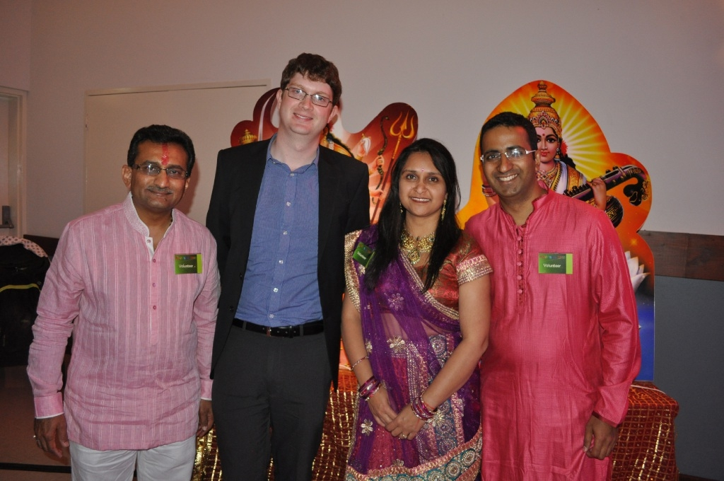Organisers  Rajan Shah, Kiran Shah and Rajat Raval with audiologist Chris Brennan-Jones.