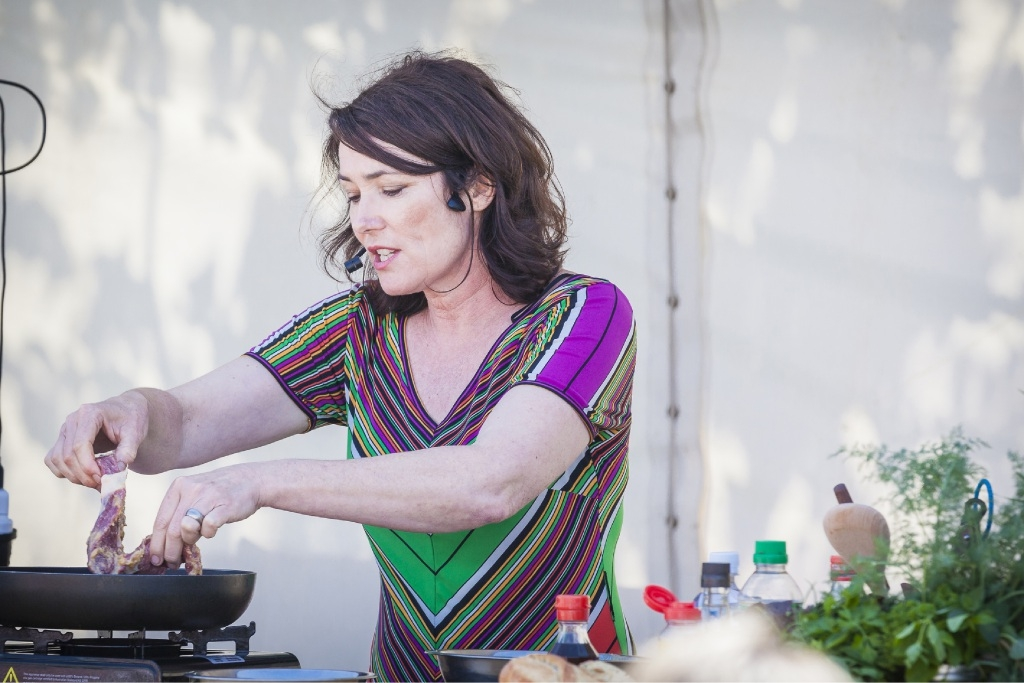 Chef Anna Gare during a cooking demonstration.