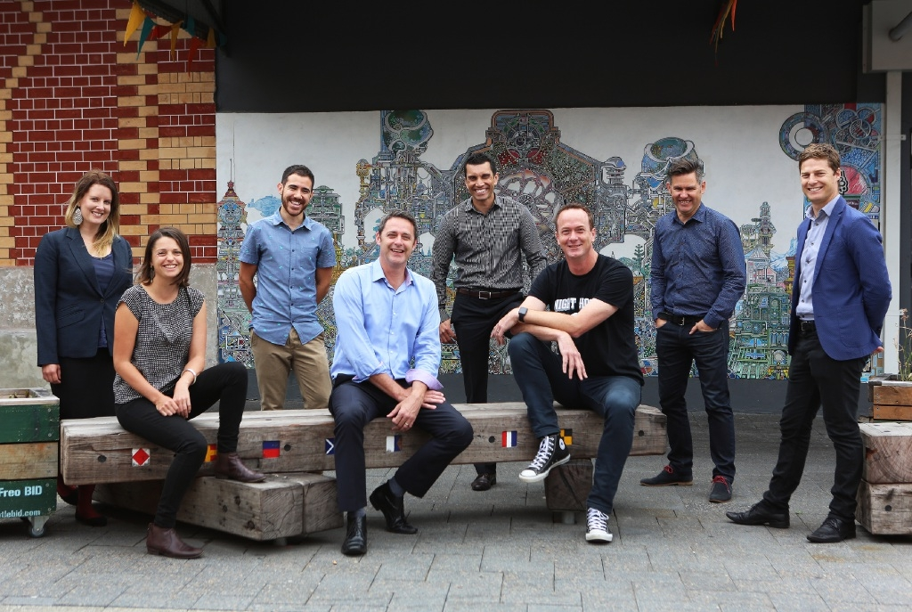 Growing Change's Renee Gardiner and Jessica Stenhouse, Befriend's Nick Maisey, Inclusion WA's Paul Fleay and Denver D'Cruz, Griffin Longley of Night Hoops, Fremantle Mayor Brad Pettitt and Fremantle Foundation's Dylan Smith. d445294