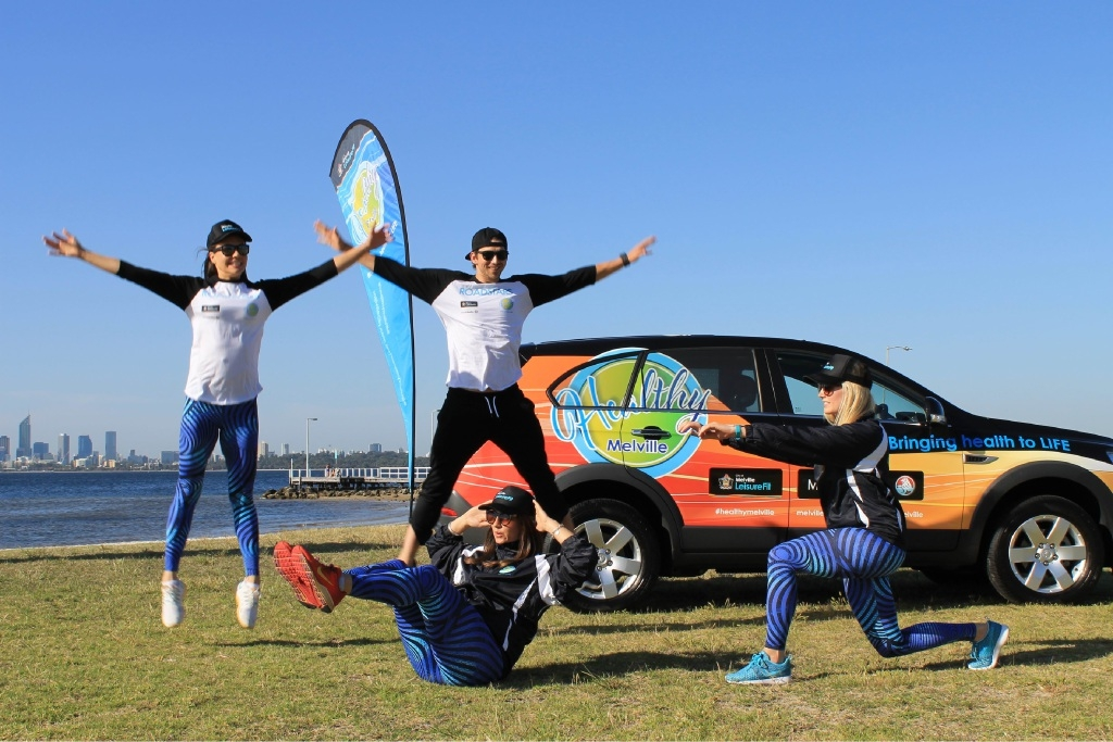 Healthy Melville Roadstars  Courtney Spanbroek, Toby Plant, Ebonee Hutchinson-Brown, Kate Paten at Jeff Joseph Reserve on the Applecross Foreshore.