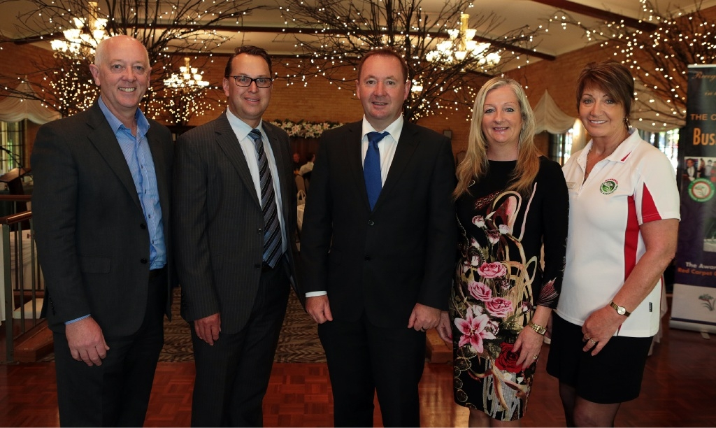 Wanneroo MLA Paul Miles, City of Wanneroo chief executive Daniel Simms, Small Business Minister Joe Francis, Wanneroo Mayor Tracey Roberts and Bev Letton, from the Wanneroo Business Association. Picture: Martin Kennealey d445302