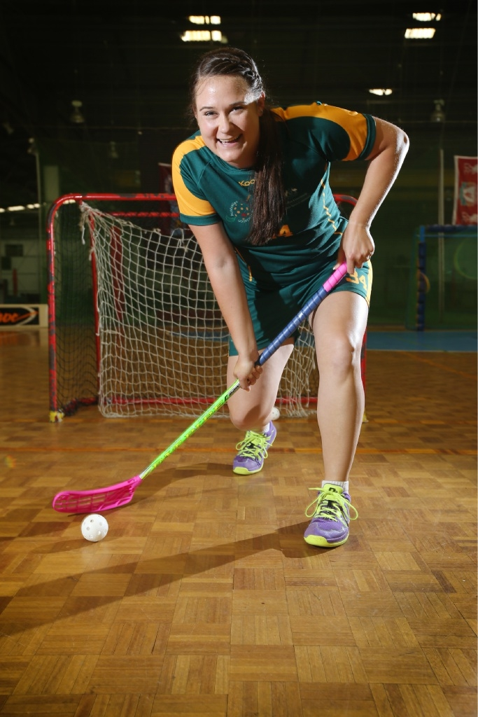 Australian floorball representative Tara Meyer.Picture: Andrew Ritchie    d445473
