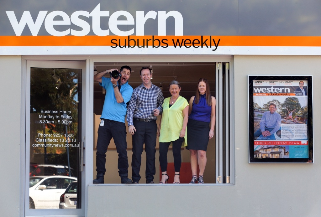Western Suburbs Weekly staff Andrew Ritchie, Oliver Warr, Dawn Sherburn and Denise Cahill. Picture: Martin Kennealey www.communitypix.com.au   d445040