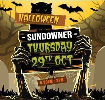 The flyer advertising the Halloween themed sundowner at an Osborne Park funeral service