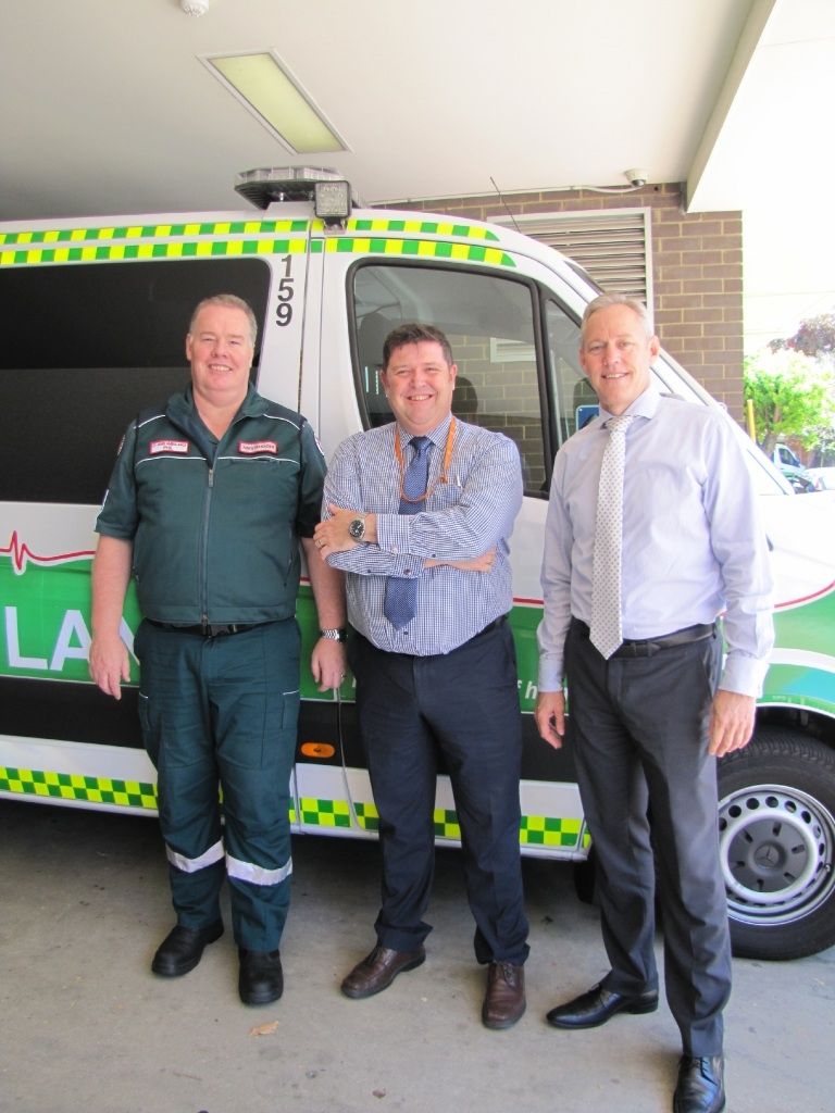 St John Ambulance WA's Philip Townsend, St John of God Midland Public Hospital's Jeffrey Williams and Swan Kalamunda Health Service's Tim Williams.