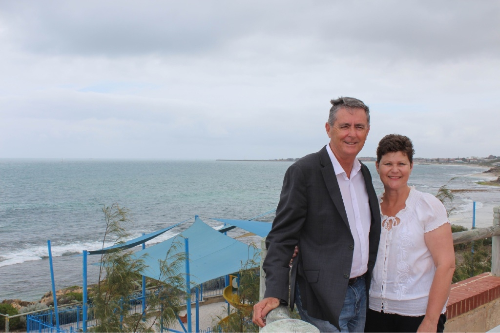 Bill Stewart and wife Penny at Watermans Bay. Picture: Kate Leaver