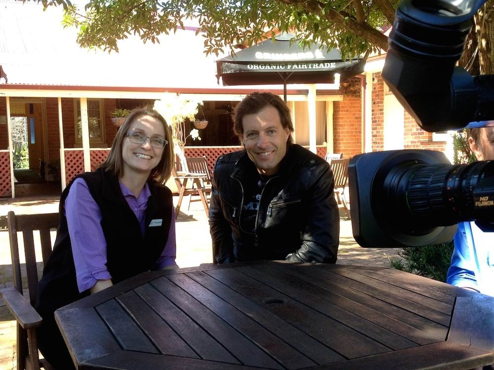 WA Weekender presenter Dan Paris with Rebecca McCauley at Edenvale Homestead in Pinjarra.