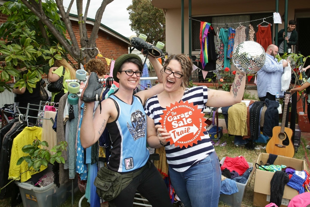 Perth Roller Derby members look for bargains on the Garage Sale Trail in Mt Lawley.