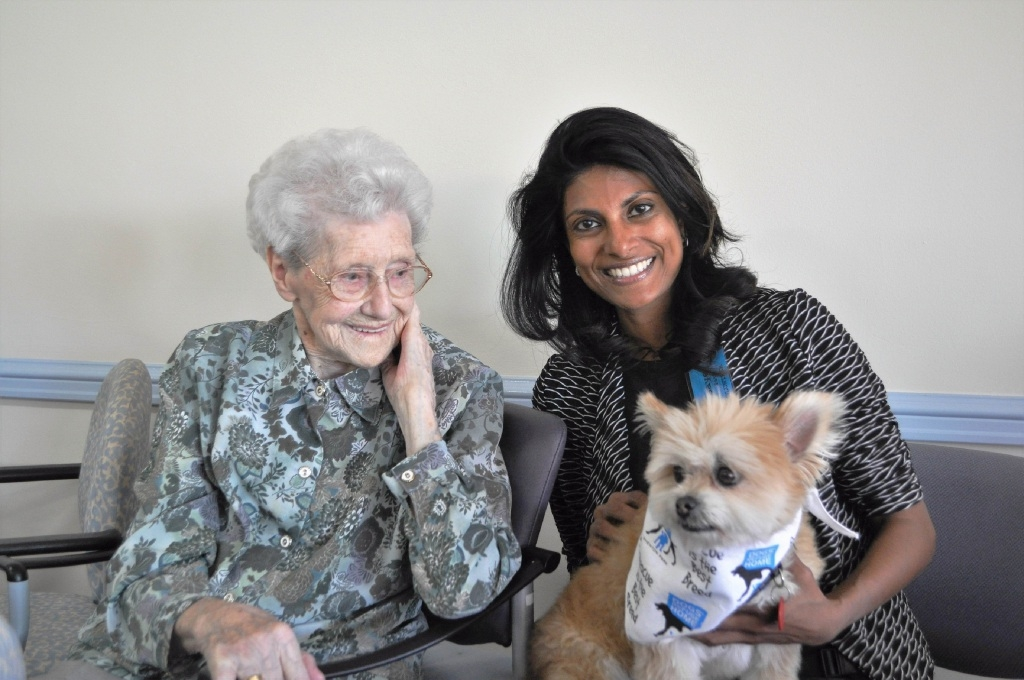 Fitzy Taylor (105), who was just 25 when the Dogs' Refuge opened, with Gaye Path and Pepe.