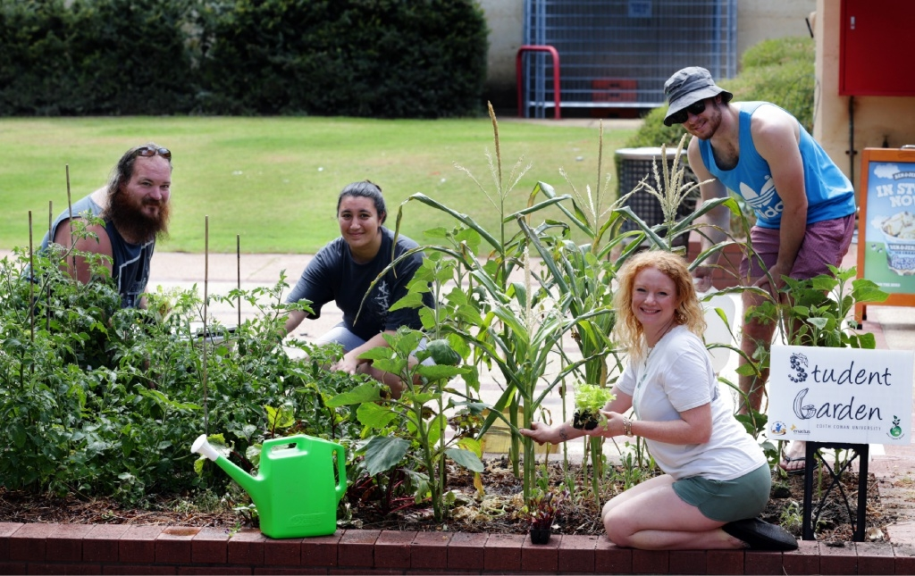 Students Justin King, Ngaire Powell and Sam Martyn with Carla Weir, from Gaia's |Organic Gardens. Picture: Martin Kennealey        www.communitypix.com.au   d446551