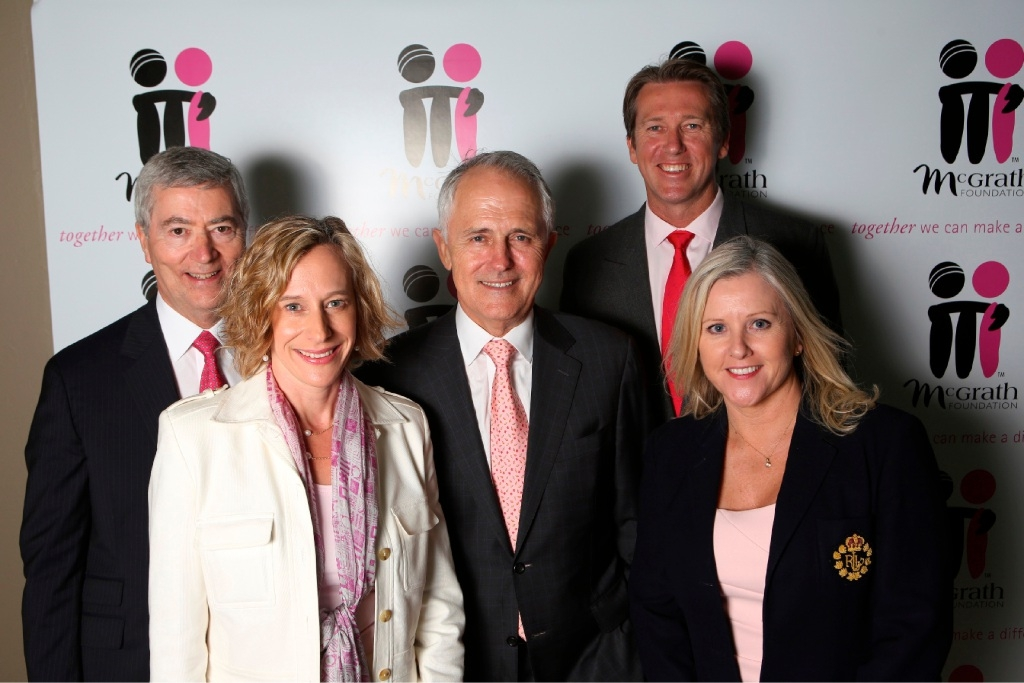 McGrath Foundation chairman John Conde, chief executive Petra Buchanan, Prime Minister Malcolm Turnbull, McGrath Foundation president Glenn McGrath and McGrath Foundation ambassador and director Tracy Bevan.