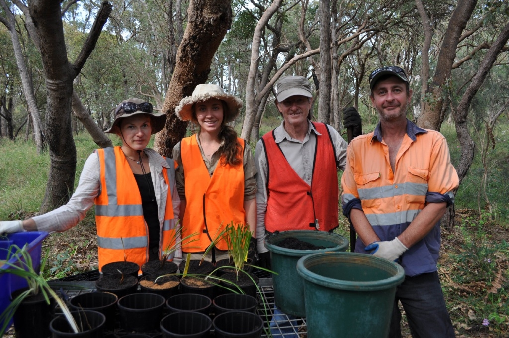 Ayesha Lapinski, Lauren Taaffe, Tony Freeman and Stuart Rae work to collect the herbs, plants and seedlings.