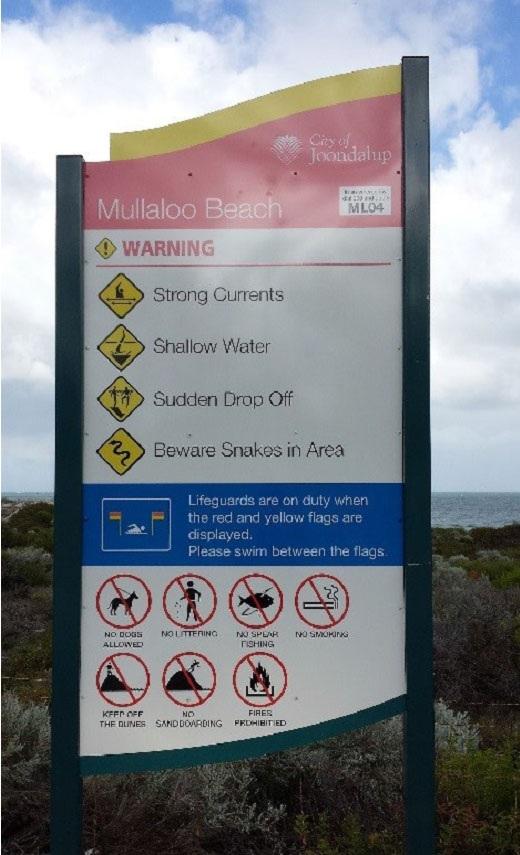 A new location sign at Mullaloo beach.