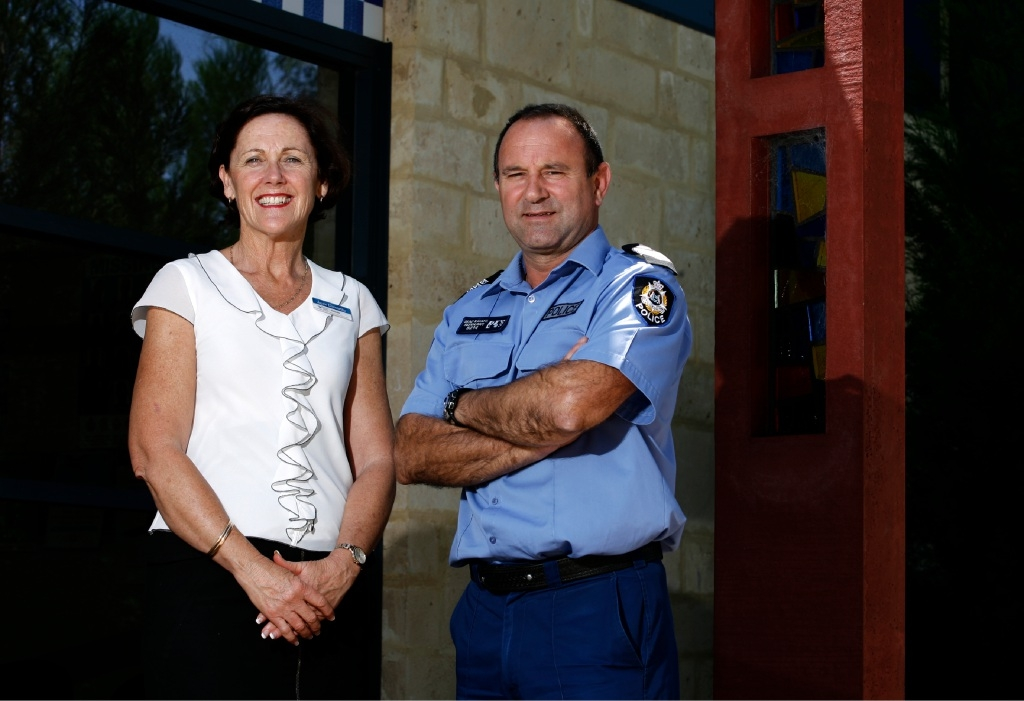 Burrendah Primary School  principal Jane Ebsworthy with Sergeant Brad Karafil, who has been nominated for the WA Police Excellence Awards. Picture: Marie Nirme  d445697