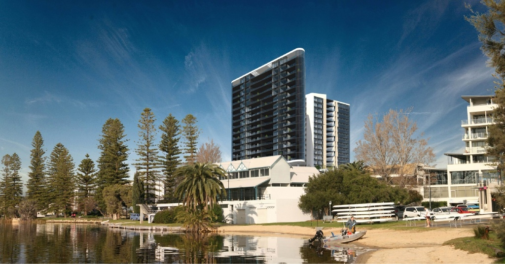An artist's impression of the twin luxury apartment buildings at Canning Bridge. Picture: Planning Solutions/MJA