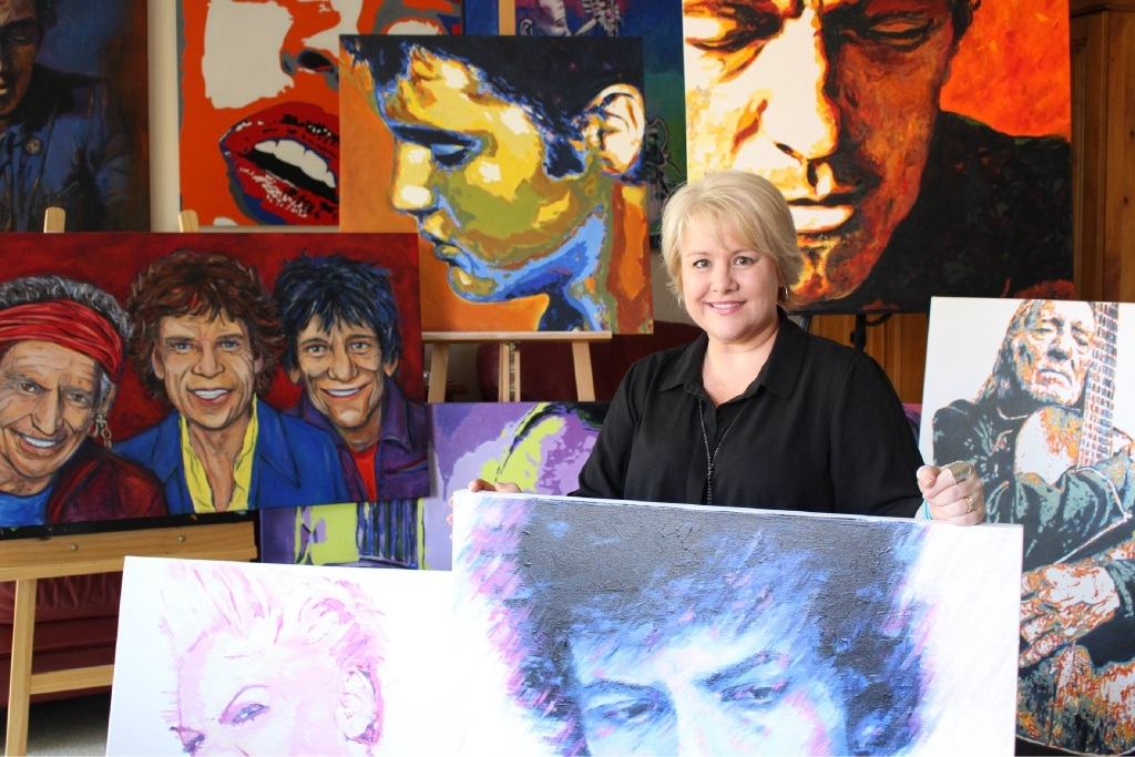 Artist Suzie Brown with some of her art that will feature in collaborative exhibition Diversity. Fellow artists Honor Lovis, Jan Robinson and Helen Kuyer will also be exhibiting work.