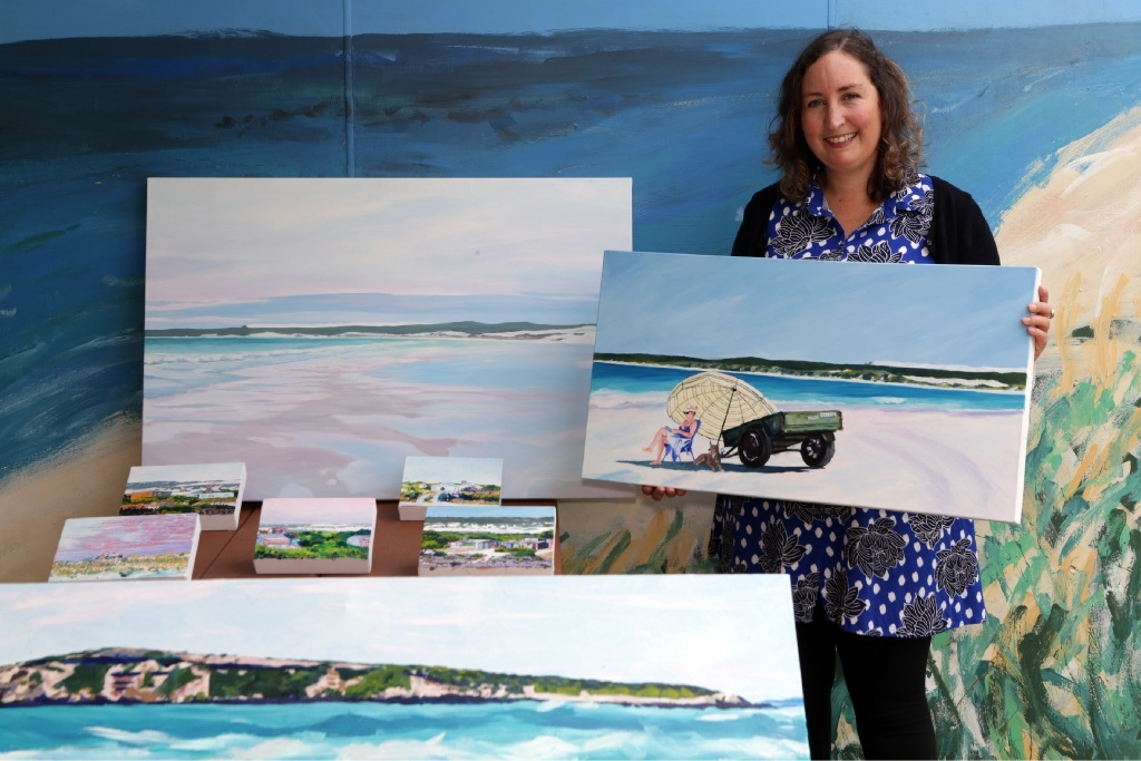 Artist Clare Detchon with her paintings of Wedge Island.Picture: Martin Kennealey        www.communitypix.com.au   d445469