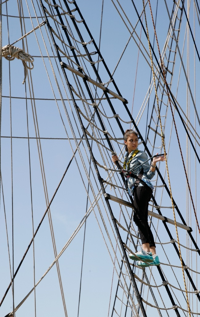 Ava Libing climbs the rigging on the Leeuwin. Picture: Marie Nirme        d445781