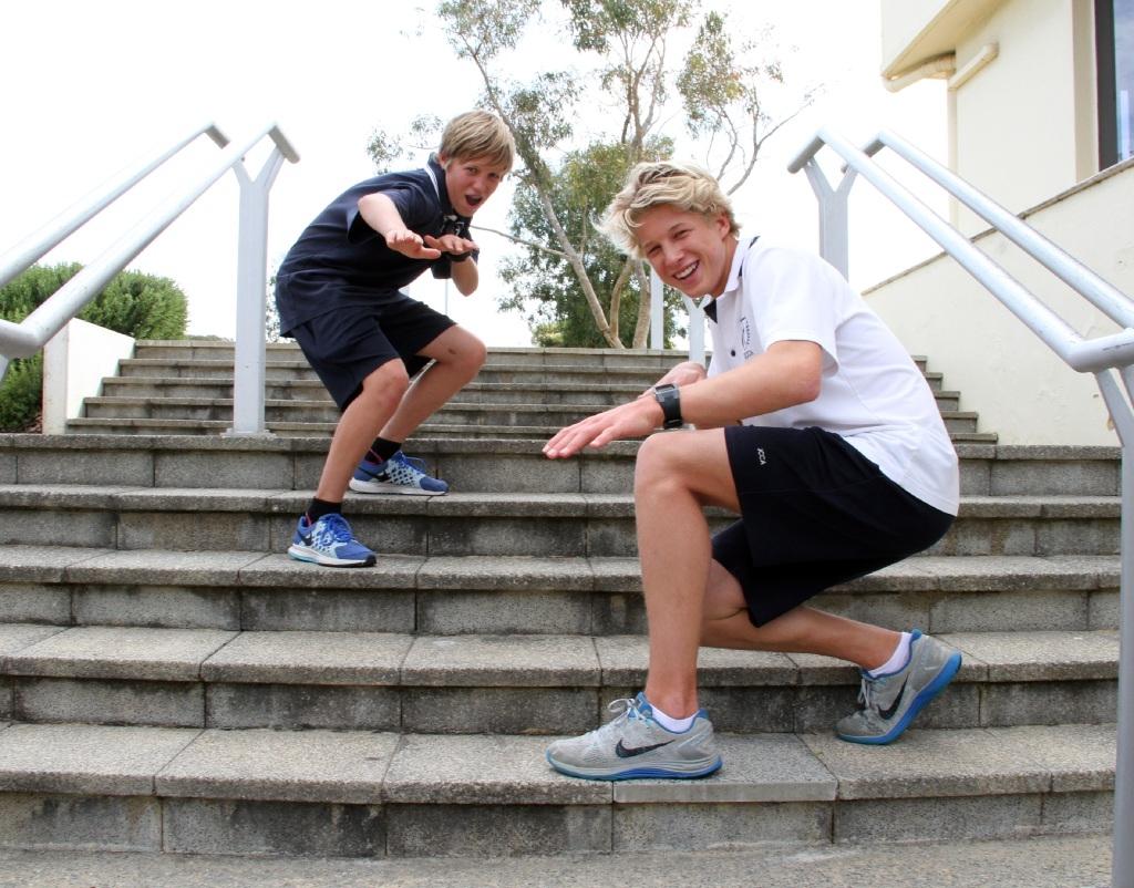 Surfers Archie and Moses Le Grice.Picture: Robin Kornet www.communitypix.com.au   d443852