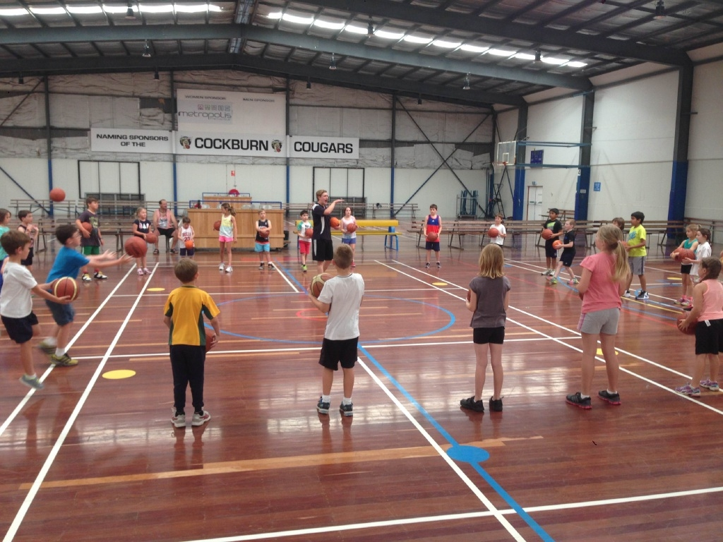 Local children take part in the Aussie Hoops program at Cockburn Basketball Association.