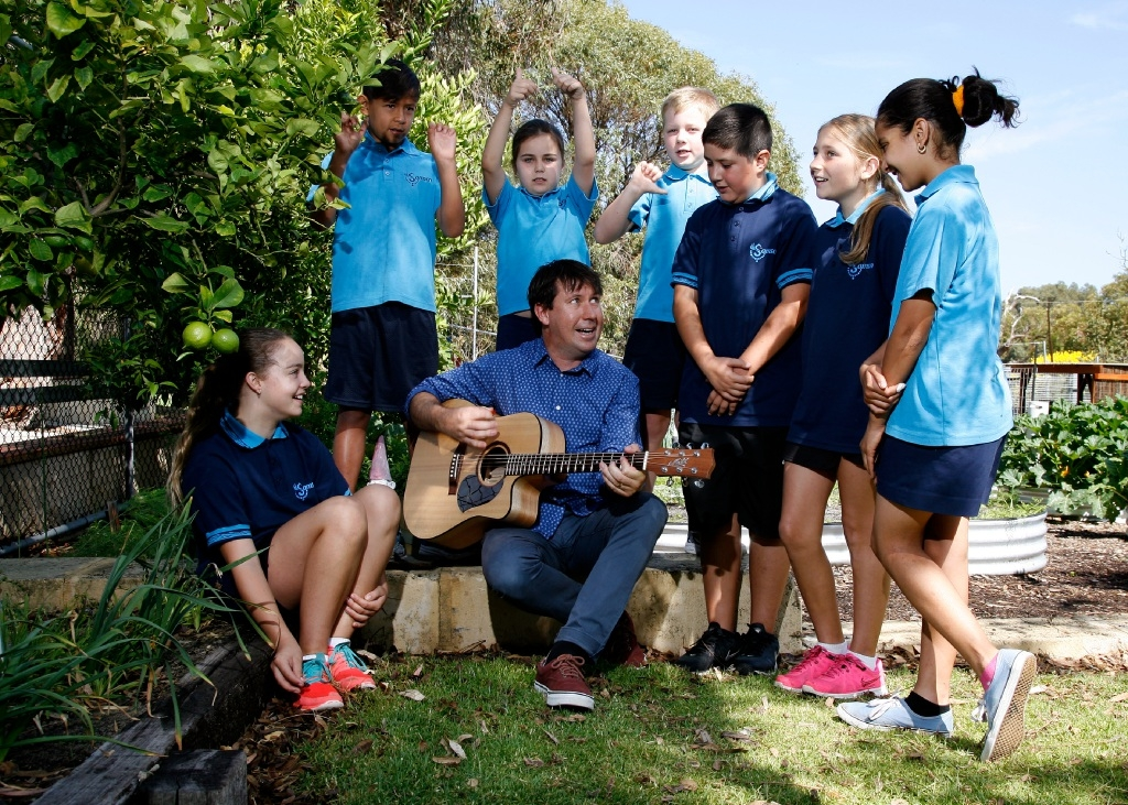 Preparing for Music: Count Us In is Samson Primary music teacher Timothy Marshall (centre) and students Maddy Culver, Chase Ashby, Kayla Spinks, Noah Rees-Turner, Eren Sakin, Zandalee Ferencich and Pantea Tavakoli.