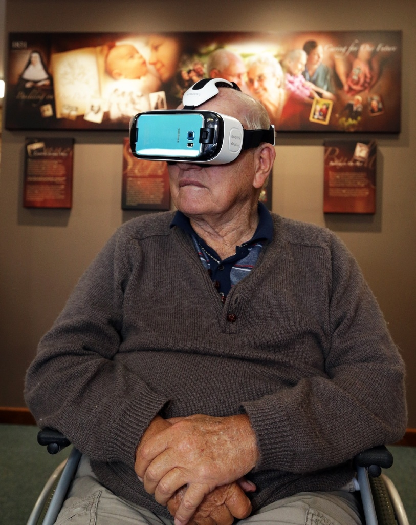 3-D goggles give residents a  virtual reality experience. Picture: Martin Kennealey        www.communitypix.com.au   d445070